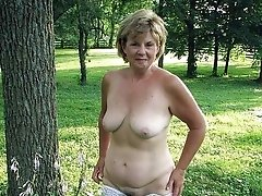 Outdoor photo shooting with lingerie flashing breasts and vagina
