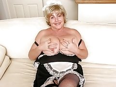 Nasty old grandma in sexy black lingerie giving up the goodies