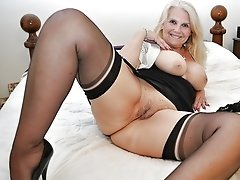 Beautiful blonde granny shows all