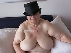 Sexy granny with huge saggy tit