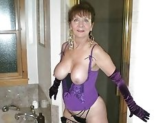 Older sexy breasted mom in particular lingerie