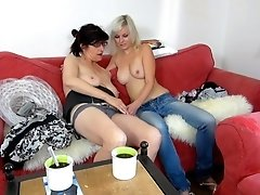 Granny ready to try double dildo with her hot GF