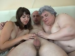 Chubby granny enjoys naughty threesome with another girl and a guy